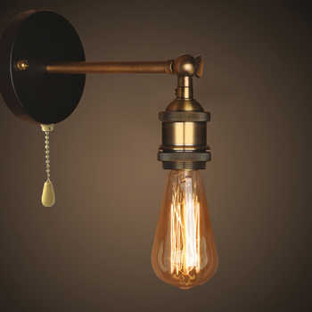 Pull Chain Switch Loft Adjustable Industrial Metal Vintage Wall Light Edison Retro Wall lamp country style Sconce Lamp Fixtures