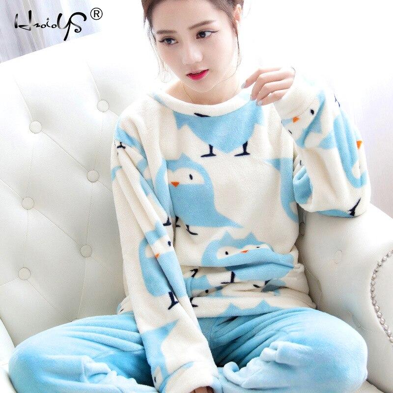 Herbst und Winter Frauen Pyjamas Sets Dicke Warme Korallen Samt Anzug Flanell Langarm Weibliche Cartoon Bär Tier Hosen Nachtwäsche