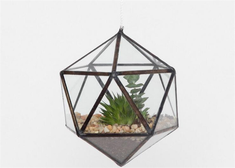 Mini Geometric Glass Hanging Terrariums Containers Soldered Glass
