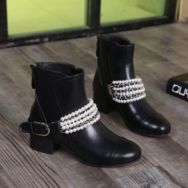 2018 Británica Botas Zapatos Y Shown Mujer Cuero Perla Tobillo Impermeable Negro Martin As Motocicleta Moda 41 Cadena De Genuino rXqrxS