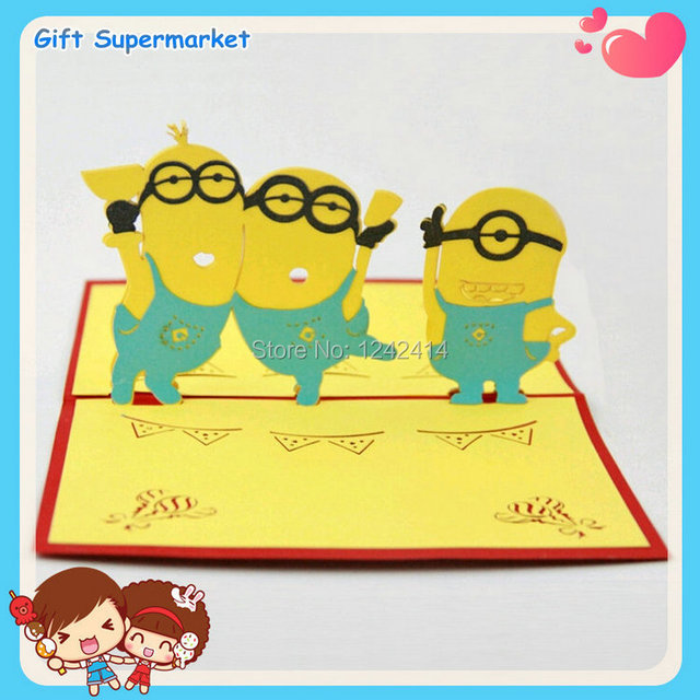 Hotsales Cute Minions 3D Handmade Creative Pop Up Greeting Cards For Baby  Shower Invitations Favors 70pcs