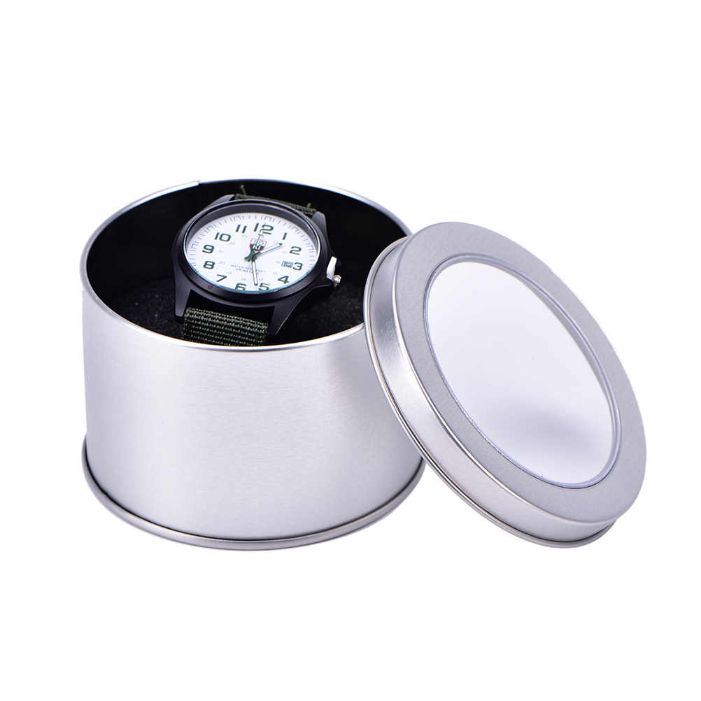 Storage Watch Winder Jewelry Nice Sponge Round Organiser Practical Silver Case Tin Display Gift Box 90*60mm