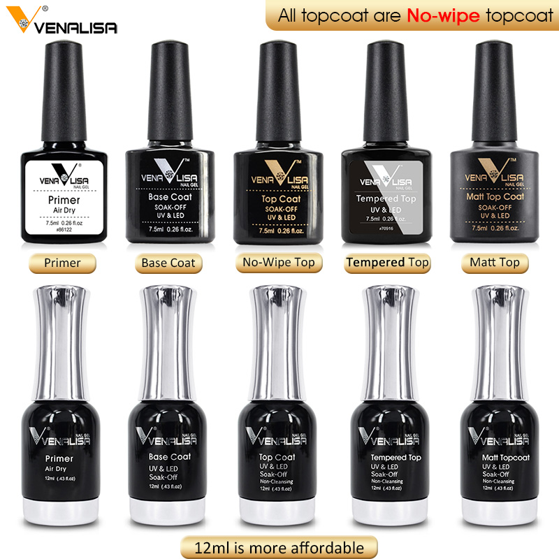 VENALISA Primer Tiada Asid Cepat Kering Profesional Nail Art Salon Manicure Matt Base Top Rendam UV Warna LED Nail Gel Poland
