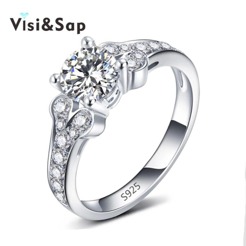 Visisap Clássico Rainha Anéis Para As Mulheres Anel de noivado casamento AAA luxo cubic zirconia Presentes para meninas de Ouro Branco cor VSR096