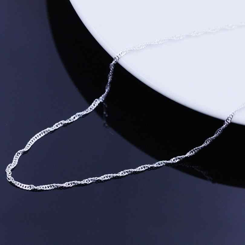 Collier femme collier modèles vague chaine de haut de gamme bijoux femme Vintage bijoux accessoires argent Top 45 CM Pendientes