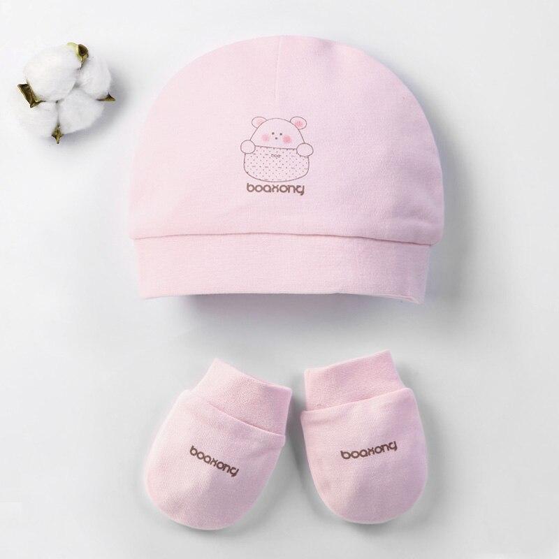 Осенне-зимние детские шапки и варежки для девочек и мальчиков, кепки, носки, удобные детские шапки и перчатки, хлопковые аксессуары для новорожденных детей 0-3 лет - Цвет: Розовый