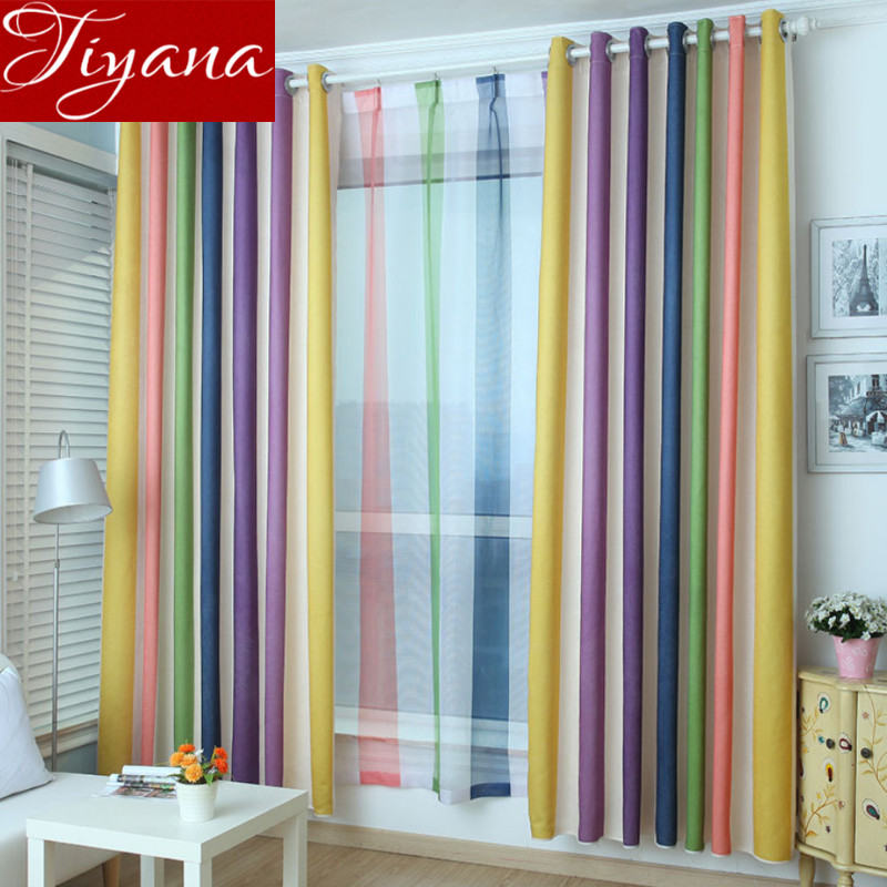 Curtains For Kids Room: Rainbow Striped Curtains Printed Voile Modern Simple
