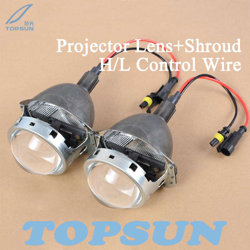 GZTOPHID 3 Bifocal Q5 Projector Lens, 35W HID bulb, Shroud and High/Low Beam Control Wire, for H1 H4 H7 H11 9005 9006 gztophid 3 bifocal q5 projector lens 35w hid bulb shroud and high low beam control wire for h1 h4 h7 h11 9005 9006