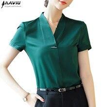 Naviu blouse à manches courtes col V pour femmes, nouvelle mode, taille grande, été, hauts et chemisiers