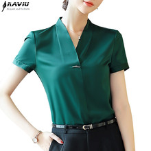 Naviu新ファッション女性のトップスやブラウスのための夏のvネック半袖プラスサイズのシャツblusas mujer · デ · モーダ2019