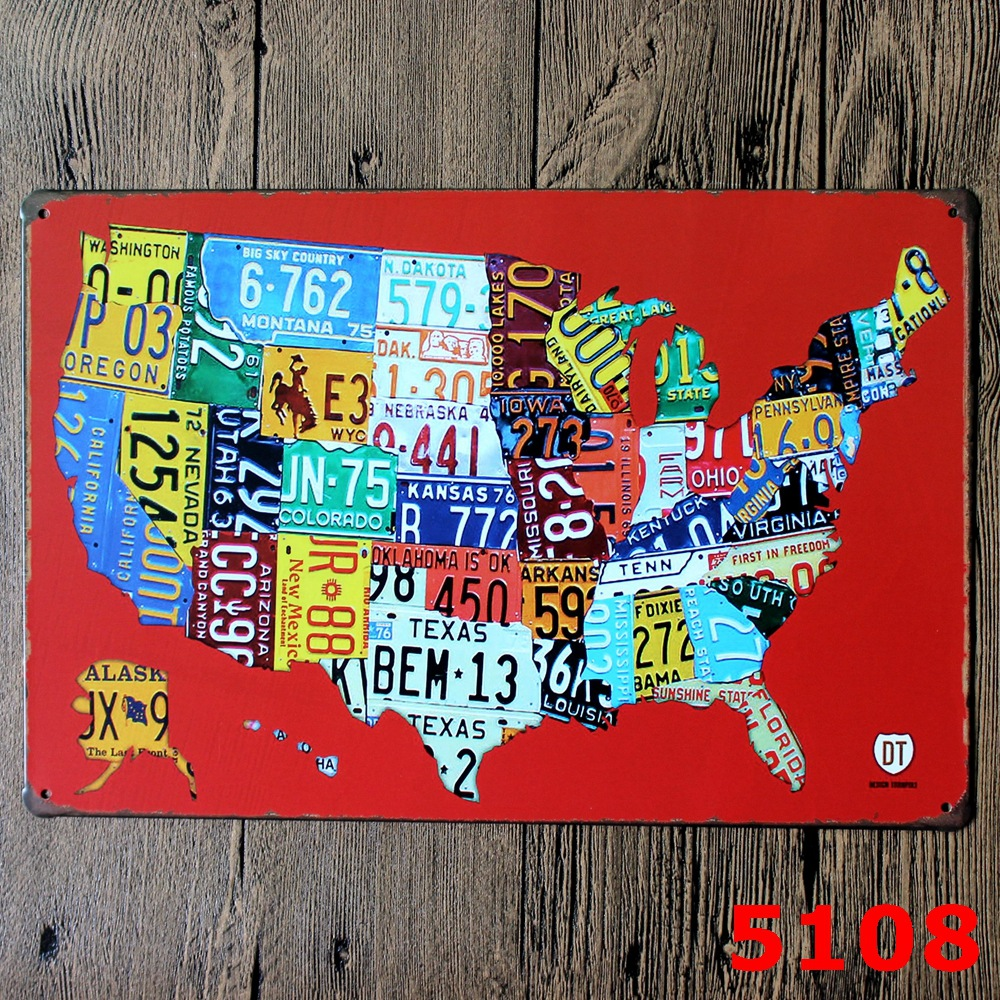 RED COLOR AMERICAN MAP Printing Metal Wall Sticker IRON Plaque PUB Wall Sticker house Ti ...