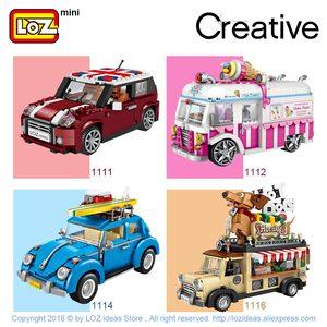 Image 2 - LOZ Technic Mini bloques de construcción, carrito de perro caliente, coche, vehículo, juguetes educativos para niños, Creator, camión helado