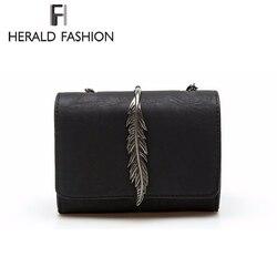 Herald Мода Листья, украшенные Мини щитка сумка замша искусственная кожа Малый Для женщин сумка цепи сумка осень новое поступление