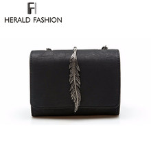 Herald Fashion Leaves Decorated Mini Flap Bag Suede PU Leather Small Women Shoulder Bag Chain Messenger Bag Autumn New Arrival(China)