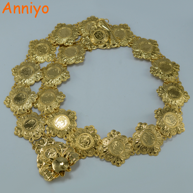 Anniyo Metal Napoleon Coin Belt Women Gold Color Arab Wedding Gift Middle East Africa Coins Belly