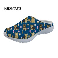 INSTANTARTS 2019 Summer Woman Sandals Yorkshire Ice Cream Prints Mesh Slippers for Girls Female Summer Slip on Beach Water Shoe