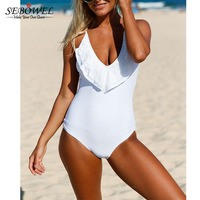 2017 Summer White Lace Ruffle Swimsuit Women One Piece Swimwear Sexy Lace Up Monokini Deep V
