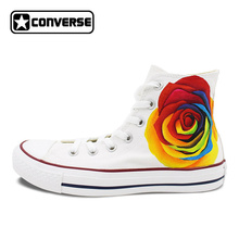 Colourful Flower Roses Converse All Star Original Design Hand Painted Shoes Women Men Sneakers Skateboarding Shoes Wedding Gifts(China)
