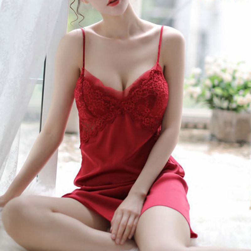 Women Erotic Floral Lace Splice <font><b>Lingerie</b></font> Dress <font><b>Sexy</b></font> V-Neck <font><b>Push</b></font> <font><b>Up</b></font> Padded Nightgown Mesh Backless Solid Color Babydoll Sleepwear image