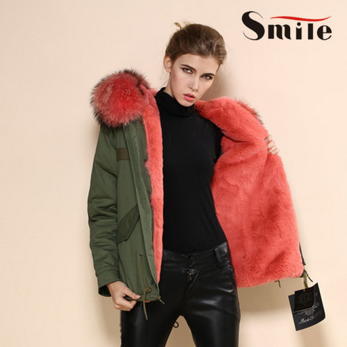 Green Parka Coat Fur Hood - JacketIn