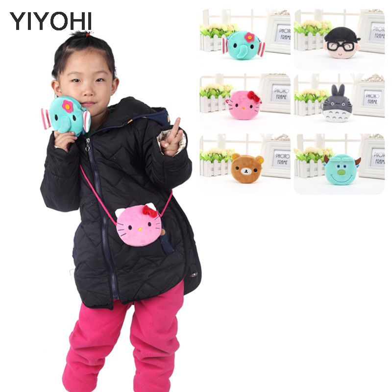 YIYOHI Nya Baby Girls Mini Messenger Bag Gulliga Plush Cartoon Boys Små Mynt Purses Barn Handväskor Kids Shoulder Mini Bags