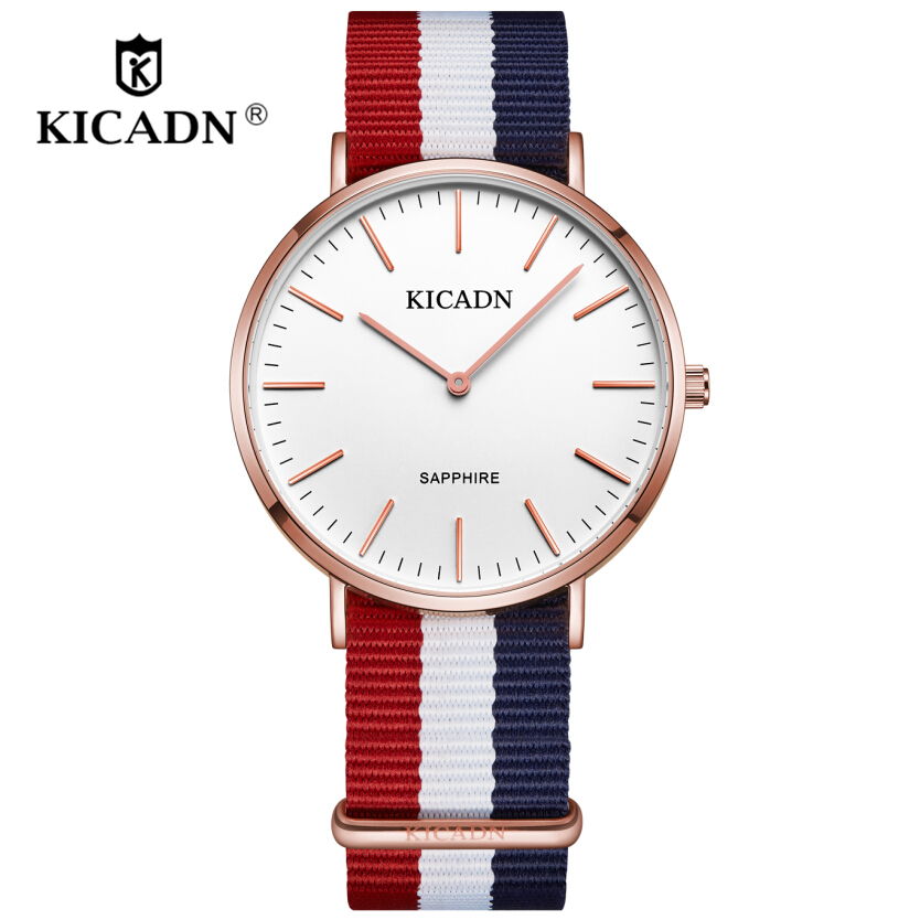 Fashion Men Women Casual Quartz Watches Crystal Nylon Simple Watch 2018 KICADN Top Wristwatches Sport Clock Relogio Feminino
