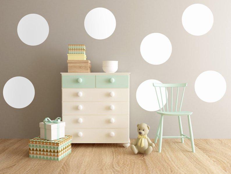 Big Polka Dots Wall Sticker, Dots Wall Decal Балалар - Үйдің декоры - фото 3