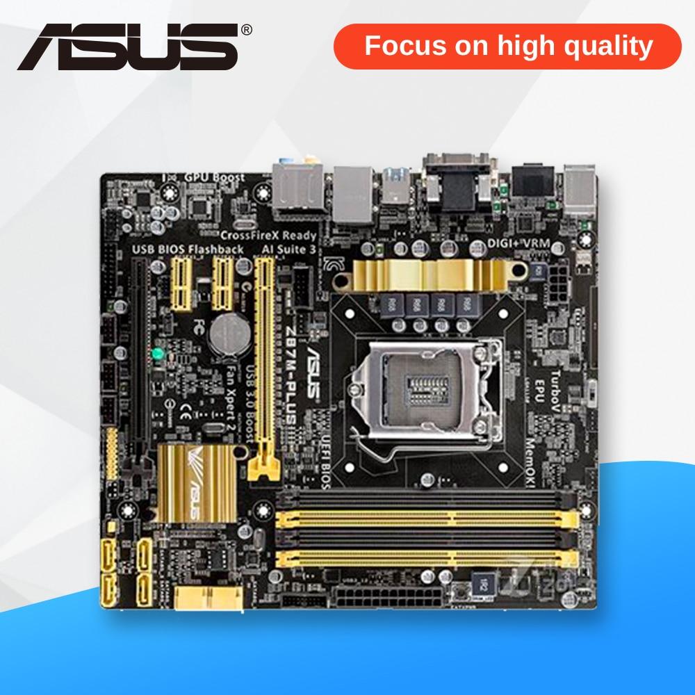Asus Z87M-PLUS Desktop Motherboard Z87 Socket LGA 1150 i7 i5 i3 DDR3 32G SATA3 USB3.0 Micro-ATX asus z87m plus original used desktop motherboard z87 socket lga 1150 i7 i5 i3 ddr3 32g sata3 usb3 0 micro atx