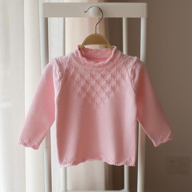New style 2017 outono cor sólida camisola moda camisola bonito das crianças do bebê da menina do bebê crianças inverno assentamento camisola