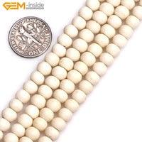 Gem-interno 6mm (foro 1.5mm) rotondo Bianco Giallo Perle di Osso Per Halloween Monili Che Fanno DIY Decorazione Strand 19