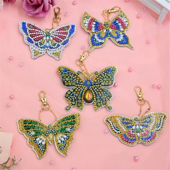 HUACAN DIY Diamond Painting Keychain Bag Decorations Jewelry Keyring Diamond Embroidery Sale Key Buckle Cartoon