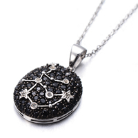 Hutang Genuine Black Spinel White Topaz Pendant Solid 925 Sterling Silver Necklace Aquarius Constellation Fine Jewelry
