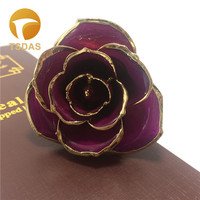 Purple Color Real Rose Perfect Valentine's Day Gifts 24k Gold Dipped Rose Flower Gift For Lover Girl Friend
