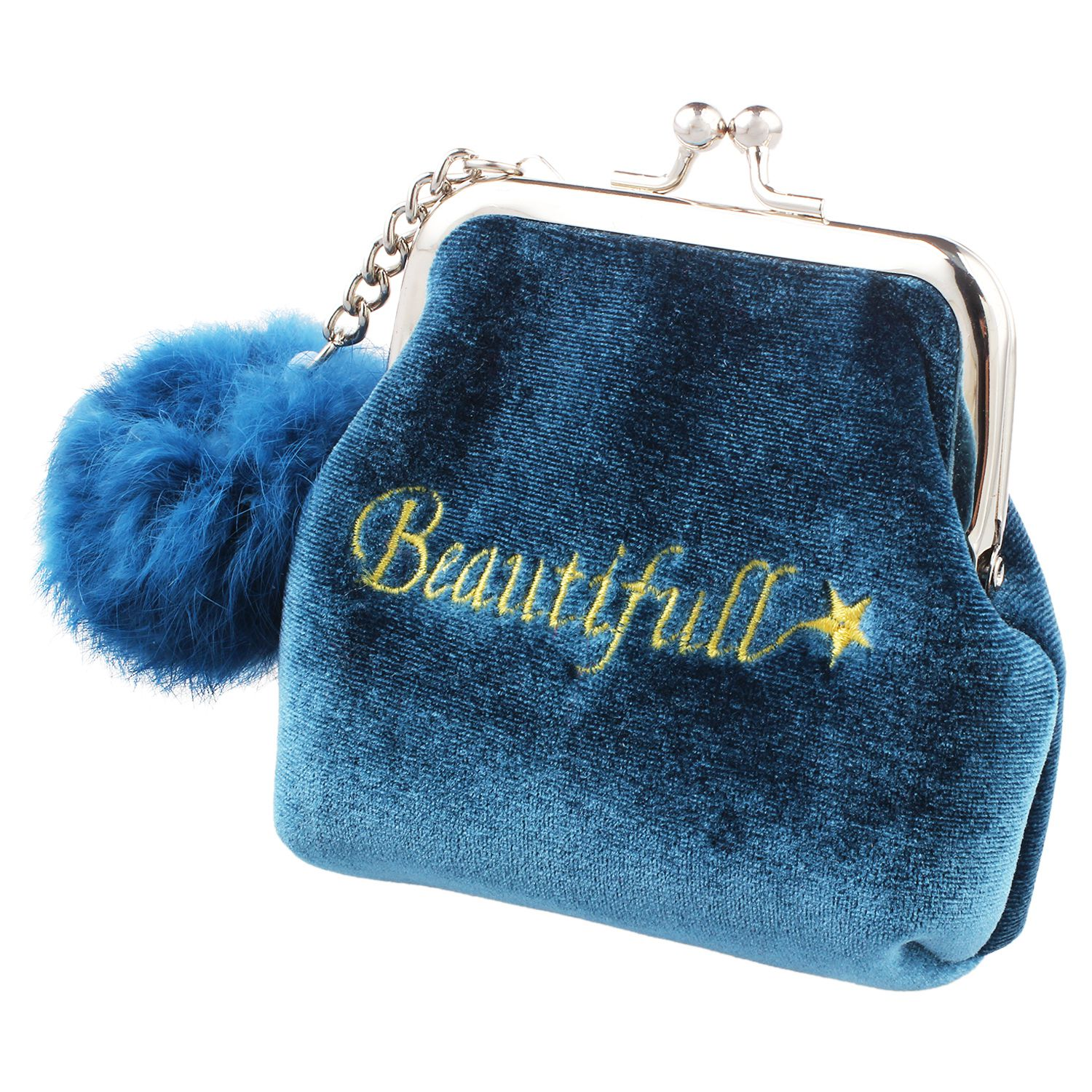 Fashion Women Velvet Lovely Small Wallet Cute Fur Ball Lady Daily Use Travel Hasp Retro Kids Mini Bags Soft Wallet For girls