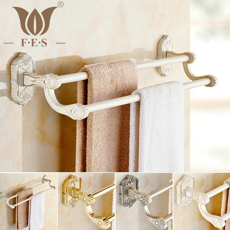 White Gold Polish Antique Bronze Copper Double Towel Bar Continental Bathroom Accessories Sanitary Wares Towel Rack