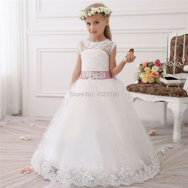 a70967196 Real Photo 2017 Hot Ball Gown Lace Flower Girls Dresses Girls First ...