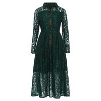 Women Vintage Dresses Turn Down Collar Slim Sexy Party A Line Lace Dress Hollow Patchwork Elegant