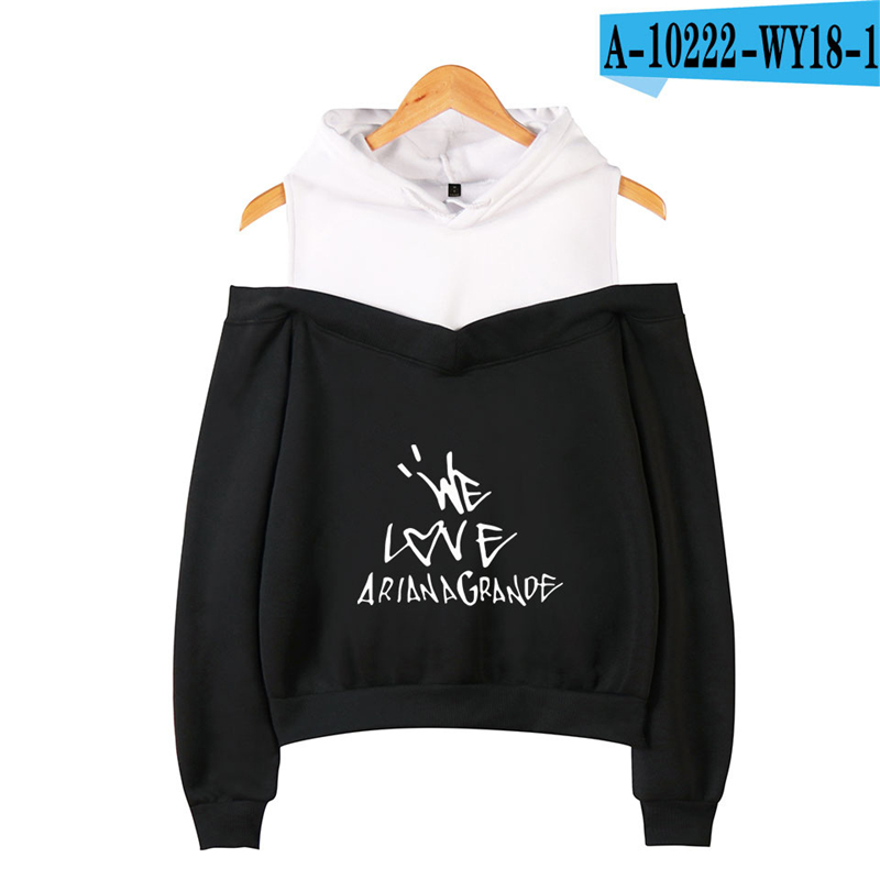 Ariana Grande Off Shoulder Hoodie American Singer Long Sleeve Jacket Unisex Harajuku Cotton Printed Ariana Grande Clothing Black(China)
