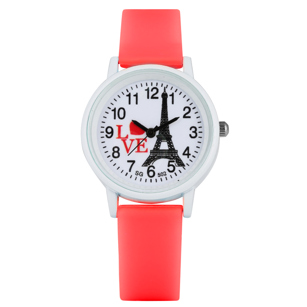 Classic Cartoon Eiffel Tower Pattern Dial Quartz Watch For Kids Silicone Strap Arabic Numerals Dial Wristwatch For Boys Girls
