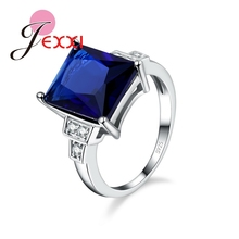 JEXXI Luxury Princess Cut Blue CZ Crystal Engagement Rings Fashion Bridal Jewelry 925 Sterling Silver Women Wedding Rings Band