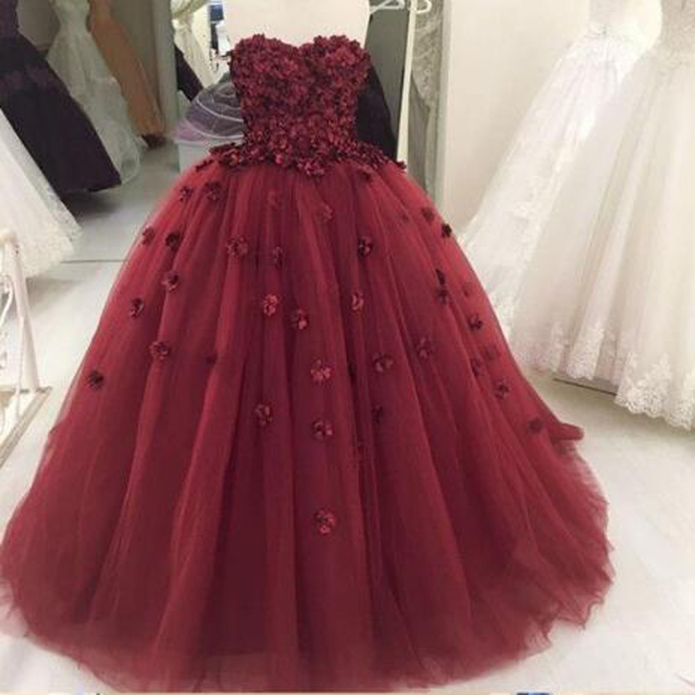 2018 Ball Gown Burgundy Prom Dresses Long With Flowers