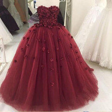 2018 Ball Gown Burgundy Prom dresses Long with Flowers Sweethear dress for graduation Tulle Formal Evening