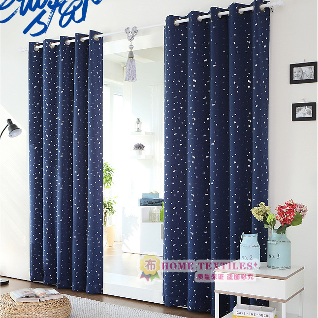 Curtain Cloth Art Home Textile Environmental Black Silk Shading Hot Silver Star Finished Living Room