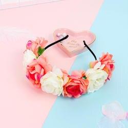 Модные женские туфли цветы для невесты оголовье мексиканской Стиль лента на голову с розами Hairband Дамы Эластичные пляжные аксессуары для