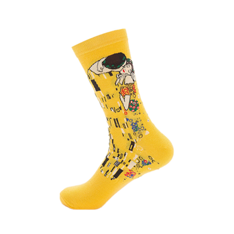 Mens casual combed cotton happy socks man oil paintings series wedding funny socks comfortable and breathable art sock