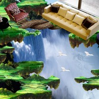 Spedizione gratuita Cliff cascate 3d pavimentazione personalizzato soggiorno autoadesivo decorazione della casa bagno murale foto wallpaper