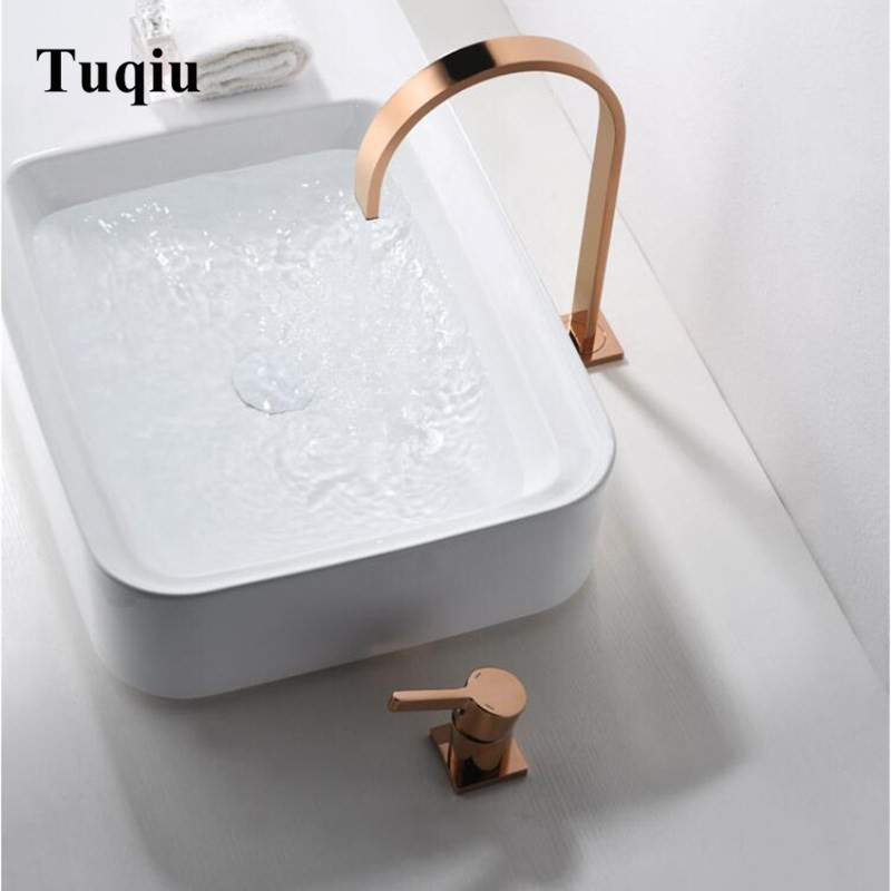 Basin Faucet Brass Rose gold Bathroom Faucet Sink Mixer Tap Vanity Hot Cold Water Bathroom Faucets
