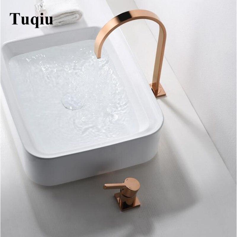 Torneira Da bacia de Latão em ouro Rosa Torneira Do Banheiro Pia torneira Misturadora Vaidade Torneiras de Água Quente E Fria Do Banheiro Nova Chegada