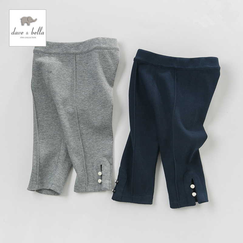 DB5285 dave bella spring baby girls navy grey casual pants children trousers kids casual pants