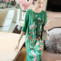 Top Quality Brand Chinese Dress 2019 Spring Summer Style Women Exquisite Embroidery Mid Calf Length Silk Cotton Dress Green